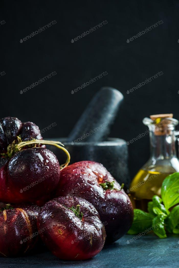 Dark ripe fresh Crimea tomatoes