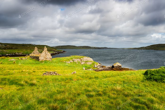A ruined croft house at Kirkibost on the Ilse of Great Bernera