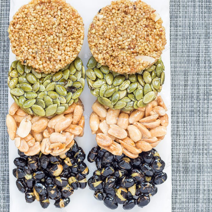 Korean traditional sweet snacks. Healthy energy snacks. Top view