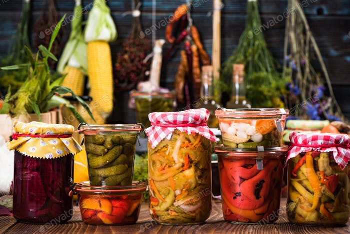Variety of Marinated Pickled and Fermented vegetables food in ja