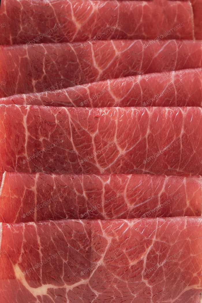 Bresaola Slices Close Up