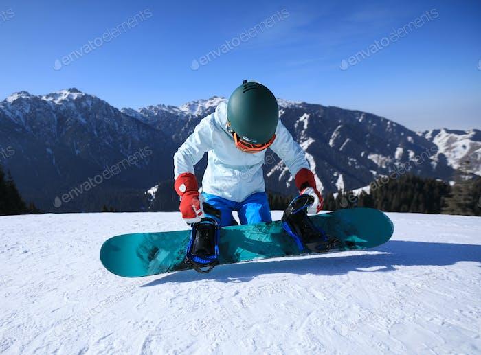 Snowboarding on alpine mountains