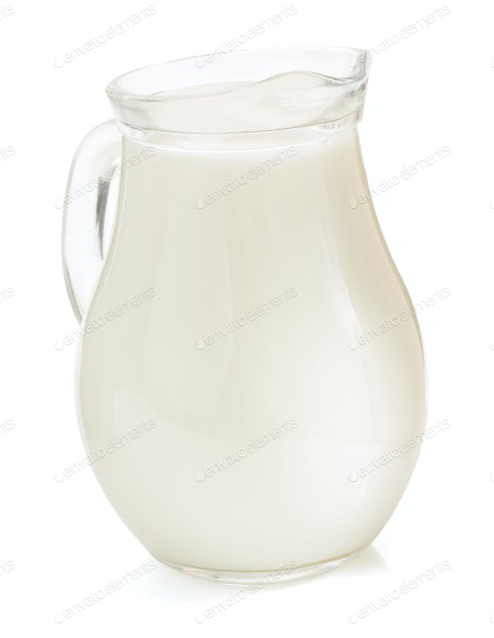 milk in jug  on white