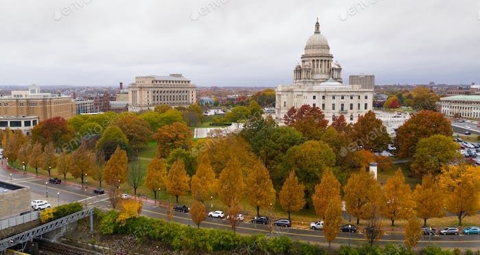Providence Rhode Island Fall Color Trees Changing Capitol State