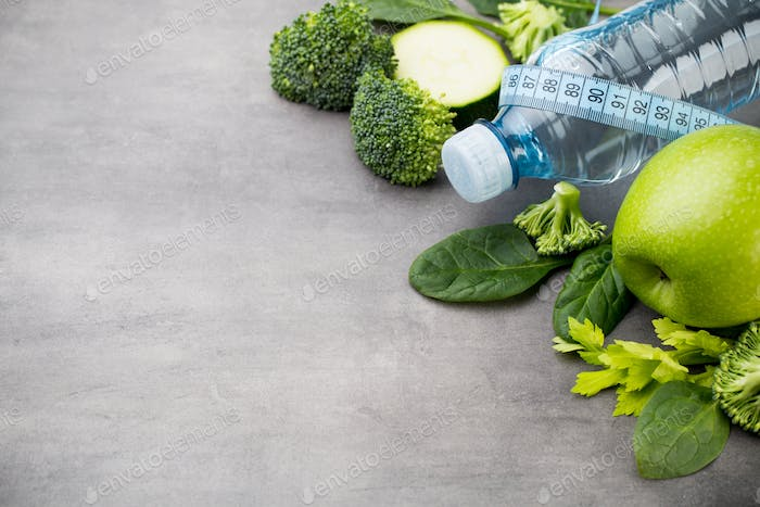 Fresh healthy vegetables, water. Health, sport and diet concept.