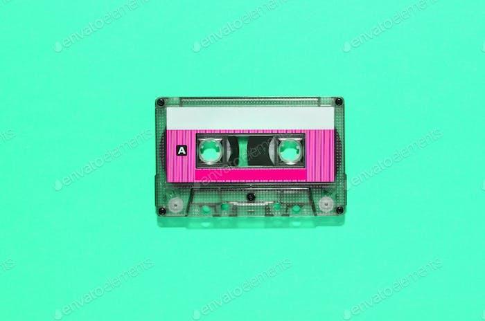 Vintage audio tape in plastic cassette