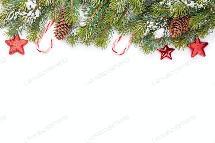 Christmas card with fir tree and decor