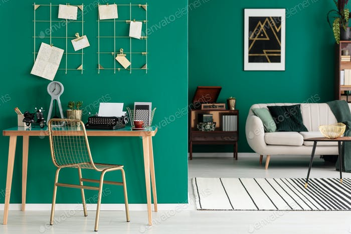 Green freelancer's open space interior