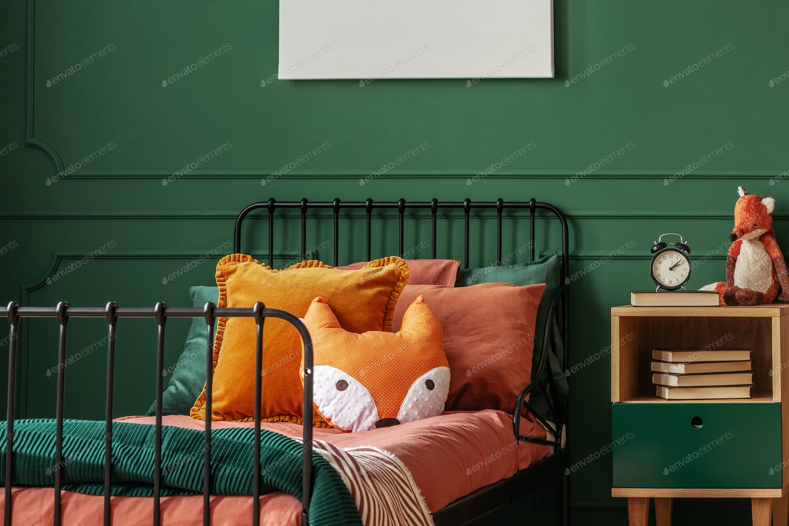 Orange pillow on single bed in dark green teenager bedroom photo by  bialasiewicz on Envato Elements