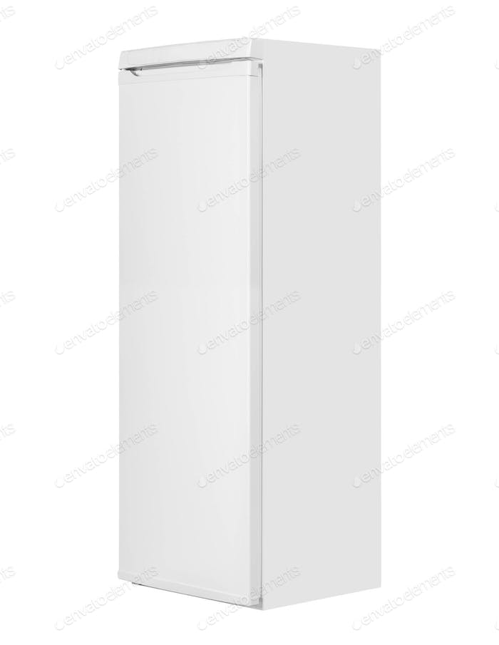 Steel fridge isolated on white