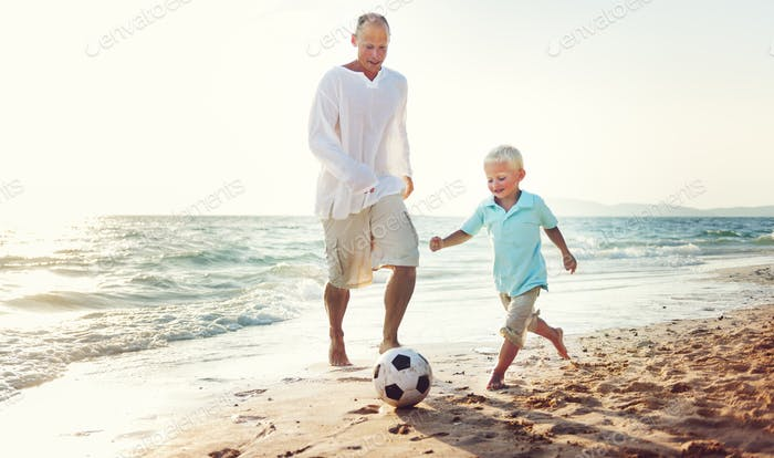 Family Father Son Playing Football Togetherness Concept