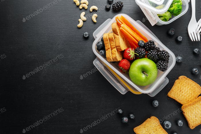 Healthy lunch to go packed in lunch box