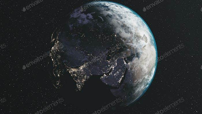 Rotate earth moon orbit star milky way background