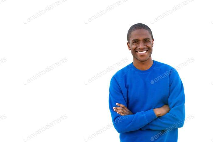 sporty young man smiling on isolated white background