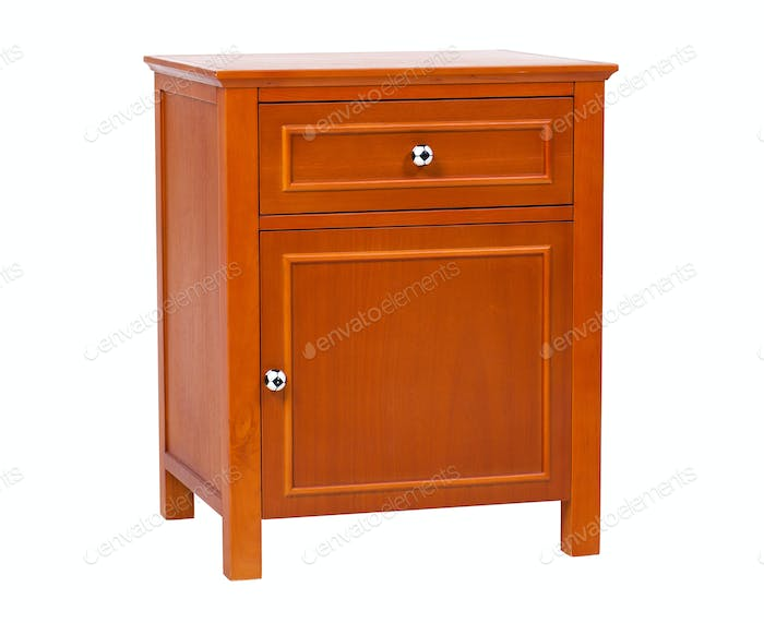 Children wooden nightstand isolated, with clipping path
