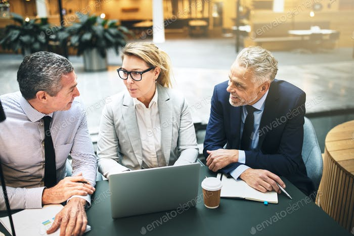 Mature businesspeople talking together at a table in an office