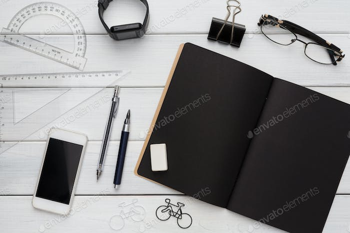 Stationery supplies - flat lay of desktop