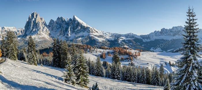 Seiser alm landscape in the snow in winter