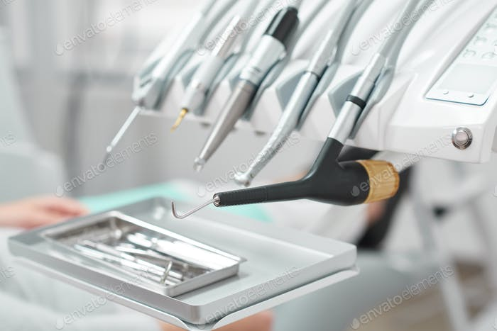 Medical tools at dental clinic