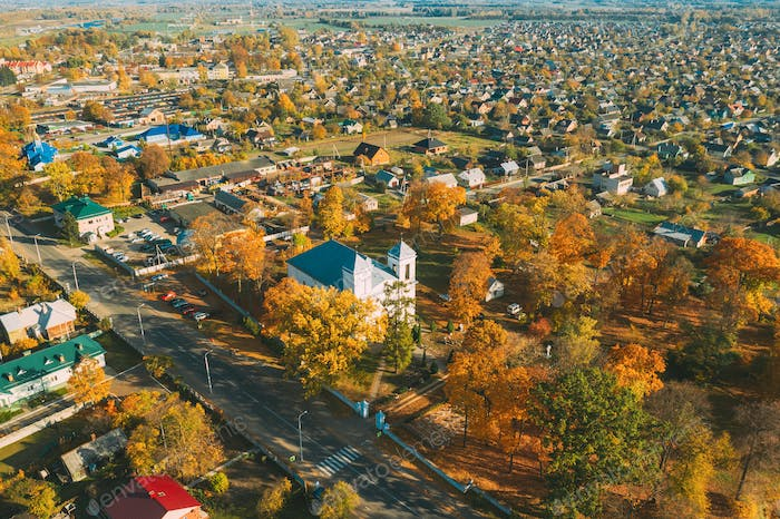 Kobryn, Brest Region, Belarus. Cityscape Skyline In Autumn Sunny Day. Bird's-eye View Of Church