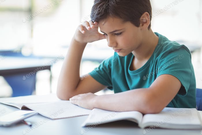 Attentive schoolboy studying in classroom