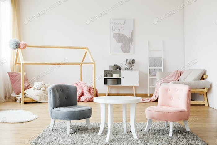 Grey and pink chairs