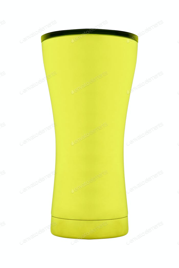 yellow plastic cup isolated
