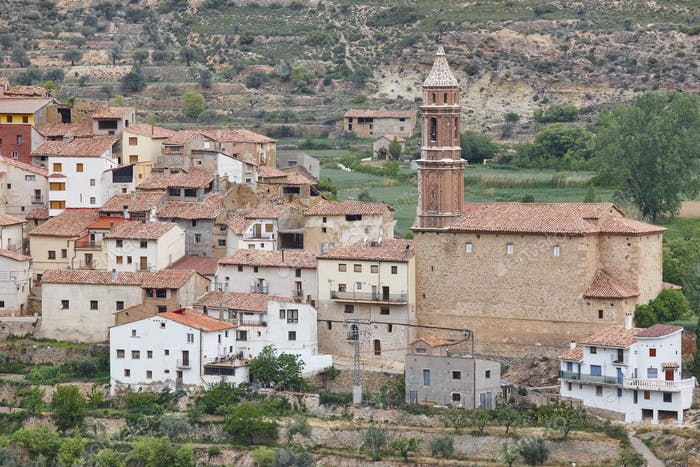 Traditional village with stone church. Seno, Teruel. Spain. Travel background