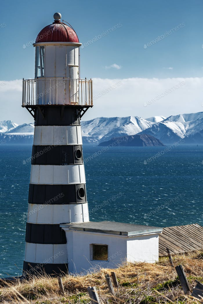 Petropavlovsk Lighthouse on Coast of Pacific Ocean. Petropavlovsk-Kamchatsky City