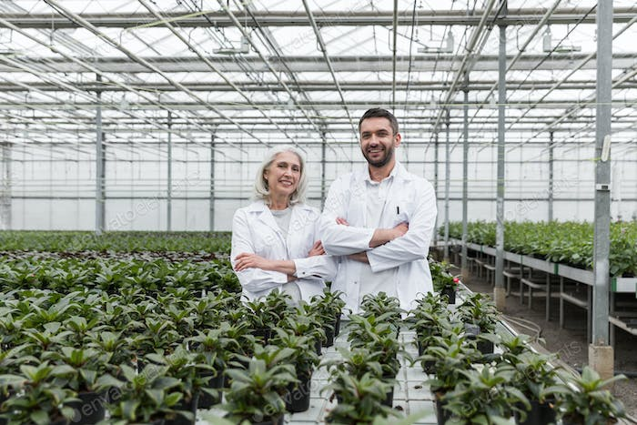 Happy man standing in greenhouse with mature woman