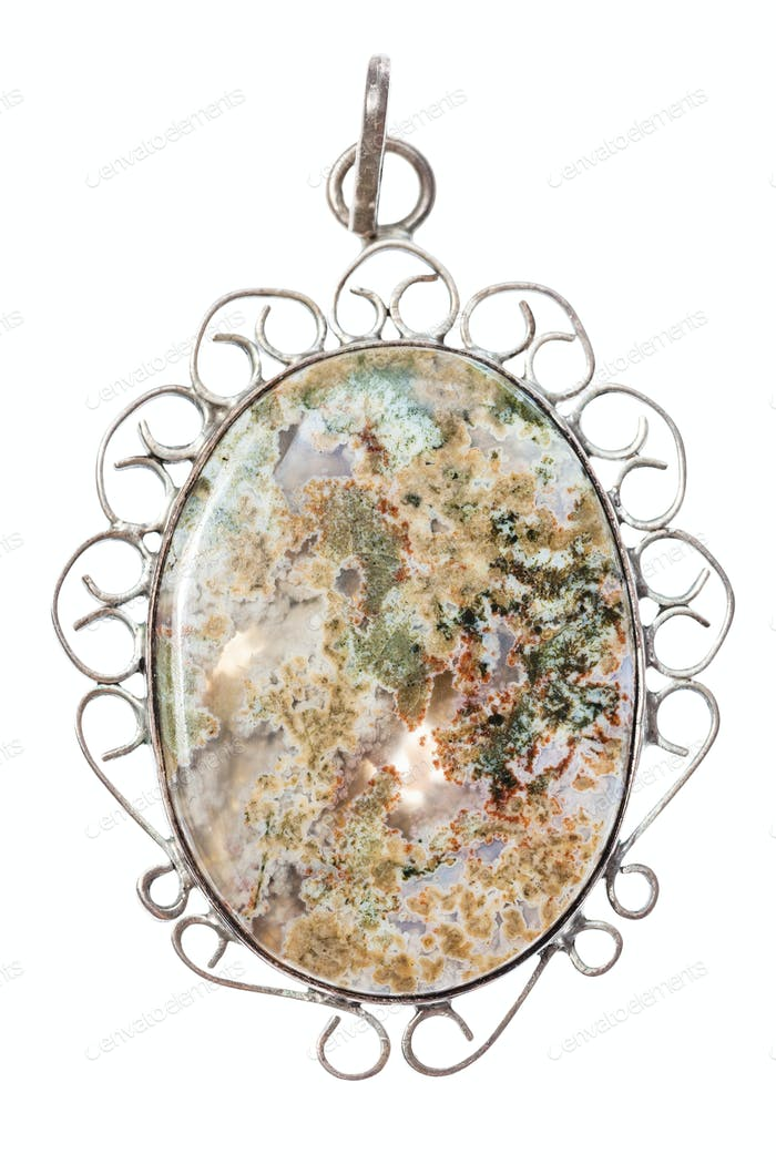 polished natural Moss Agate in vintage pendant
