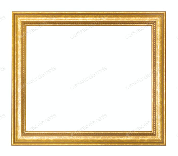 empty wide golden wooden picture frame