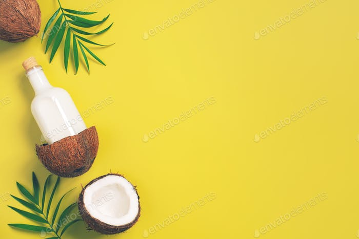 Bright Yellow Background with Coconut Milk