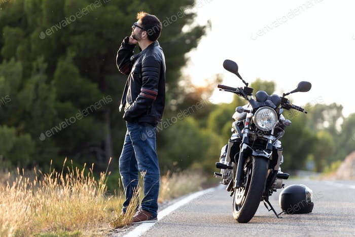 Man biker on the road.