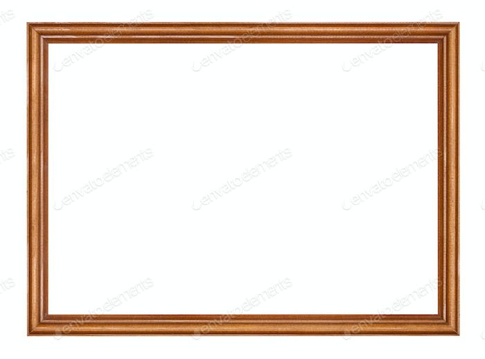 empty narrow brown lacquered wooden picture frame