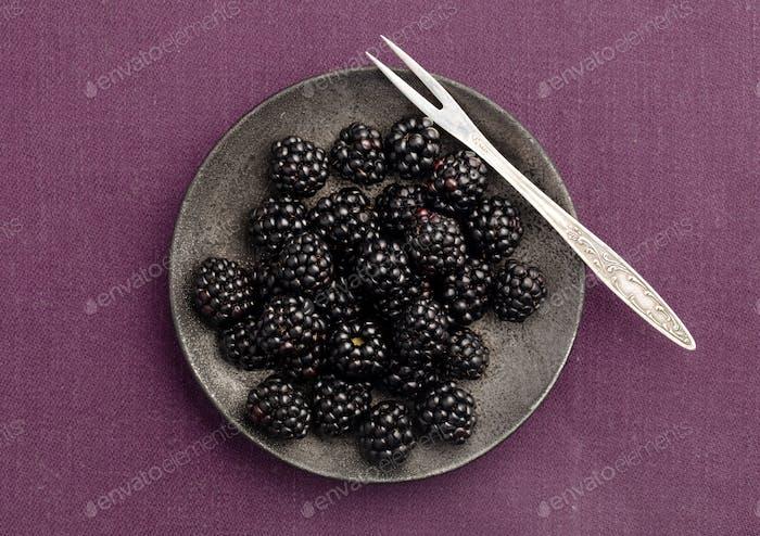 Blackberries plate above