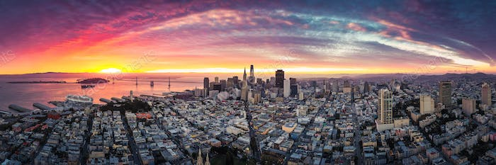Aerial Panoramic View of San Francisco Skyline at Sunrise