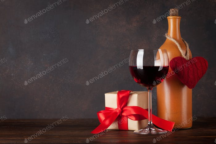 Valentines day greeting card with red wine
