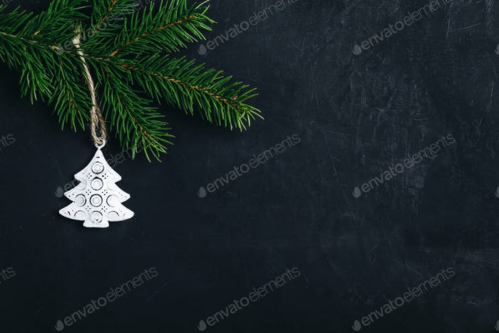 Christmas background with fir and white christmas tree.