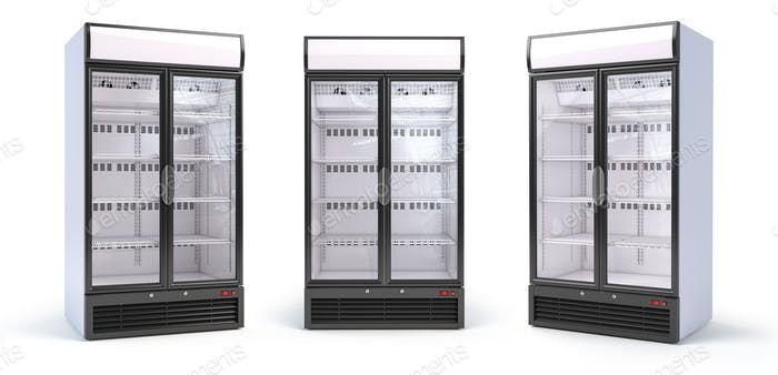 Set of empty showcase refrigerators in the grocery shop. Fridge