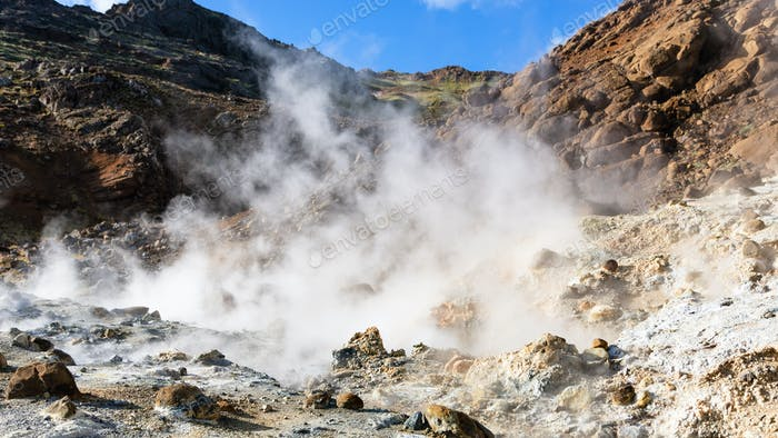 hot solfatara in Krysuvik area, Iceland