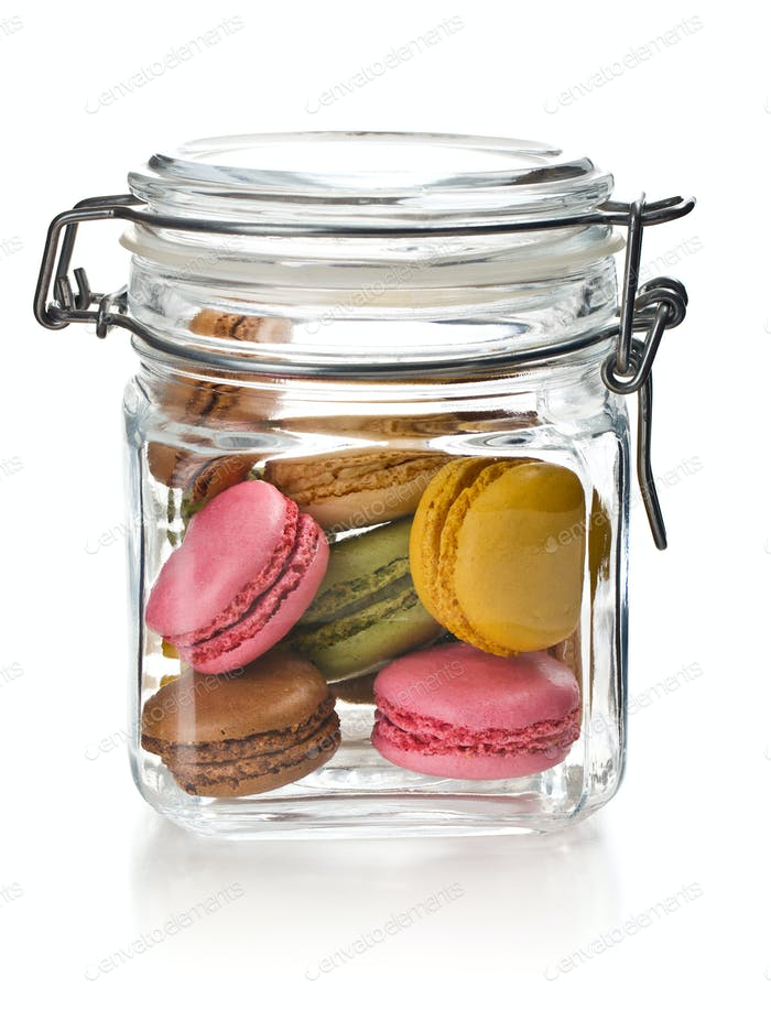 colofrul macaroons in glass jar