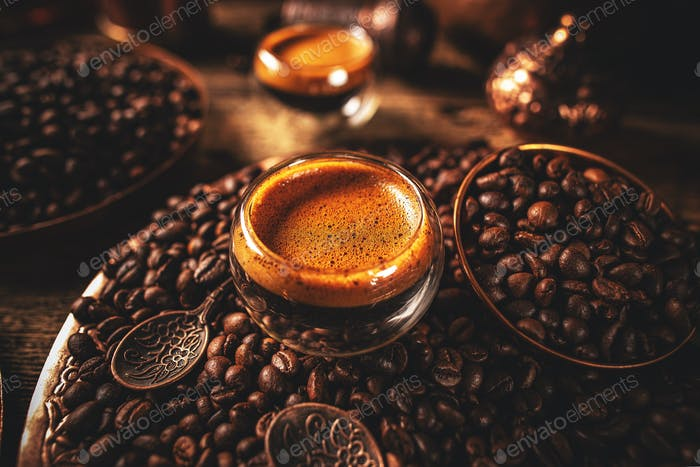 Hot freshly brewed espresso coffee