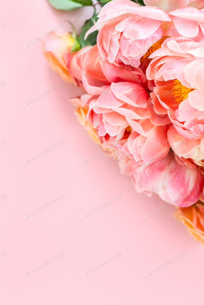 Bunch of pink peonies and roses
