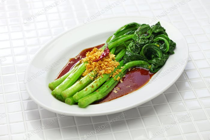 choy sum stir fry with oyster sauce and garlic