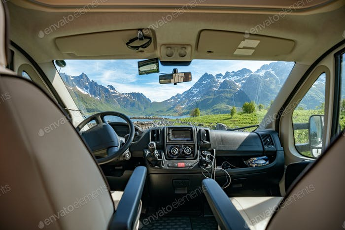 View from the window of the motorhome RV Caravan on the beautifu