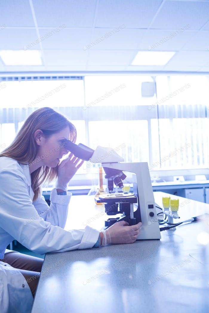 Scientist working with a microscope in laboratory at the university