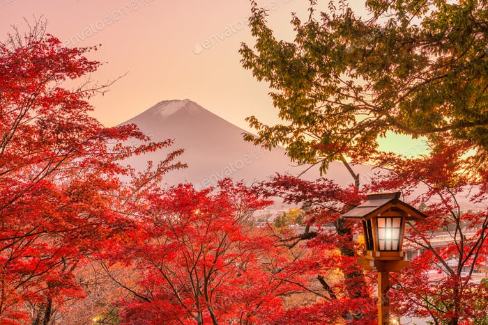 Mt. Fuji, Japan with Fall Foliage