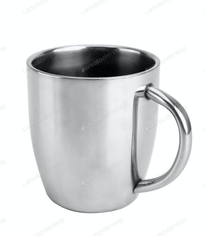 Silver thermos mug