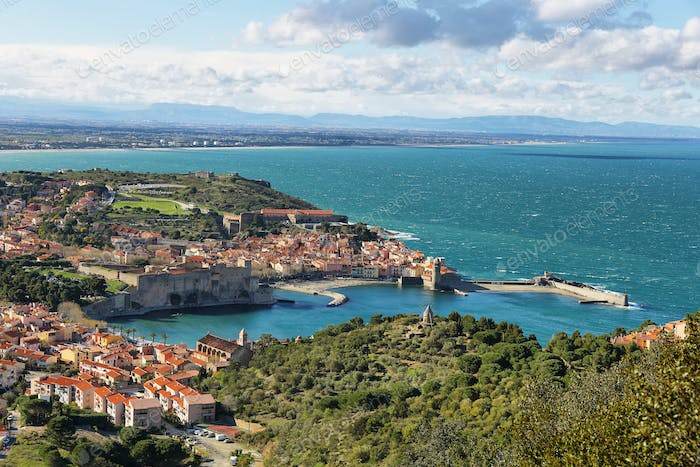 Collioure, medieval fortress walls, France